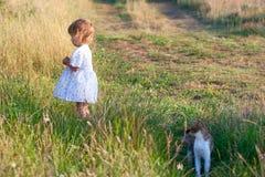 Klein meisje in de lichte kleding en kat Stock Fotografie