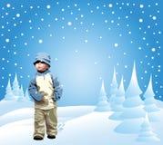 Klein meisje in de sneeuw Stock Foto