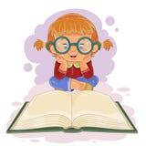 Klein meisje die een boek lezen vector illustratie