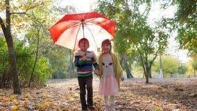 Klein meisje die met de handen van de jongensholding onderaan het de herfstpark onder rode paraplu in langzame motie lopen stock video