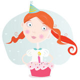 Klein meisje met cake het vieren verjaardag vector illustratie