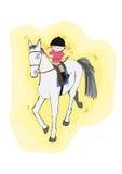 Klein meisje op een groot paard Royalty-vrije Stock Foto's