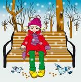 Klein meisje in park Vector Illustratie
