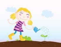 Klein meisje in Tuin stock illustratie