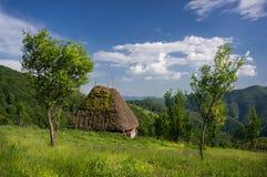 Klein met stro bedekt plattelandshuisje Stock Foto's
