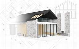 Klein modern huisproject Royalty-vrije Stock Afbeeldingen
