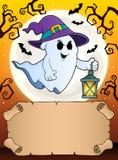 Klein perkament en spook met lantaarn stock illustratie