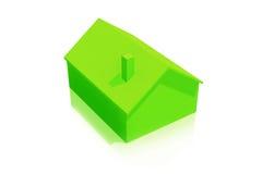 Klein Plastic Groen Huis 3D Pictogram op Witte Achtergrond Stock Afbeelding