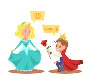 Klein prinsessen en prinsenkaraktersontwerp Royalty-vrije Stock Foto's