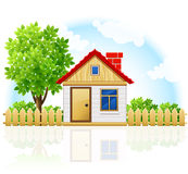 Klein privé huis met het houten drawning en boom Stock Afbeeldingen