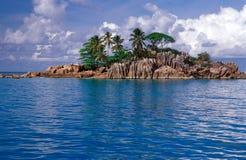Klein rotsachtig eiland met palmen Stock Afbeelding