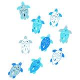 Klein schildpaddenpatroon Vector blauwe en witte overzeese illustratie Stock Afbeeldingen