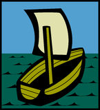 Klein schip dat in het overzees vaart vector illustratie