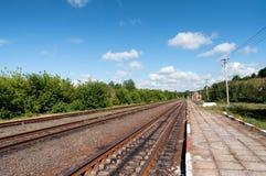Klein station Het einde van de dorpstrein Royalty-vrije Stock Foto