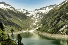 Free Klein Tibet, Landscape With Lake, Mountains, Red Helicopter And Grass Land Stock Images - 163462574