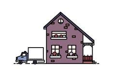 Klein two-storey huis in de voorsteden die met portiek met bakstenen in moderne architecturale die stijl wordt gebouwd en vrachtw Stock Afbeelding