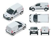 Klein Van Car Geïsoleerde auto, malplaatje voor en auto die brandmerken adverteren stock illustratie