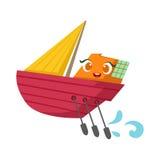 Klein Varend Jacht met Geplaatste Peddels, Leuke het Beeldverhaalillustratie van Girly Toy Wooden Ship With Face stock illustratie