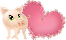 Klein varken met roze hart Royalty-vrije Stock Afbeeldingen