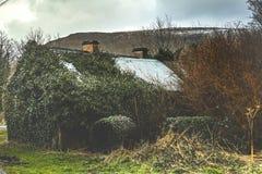 Klein verlaten plattelandshuisje bij de voet Benwisken in Provincie Sligo stock afbeeldingen