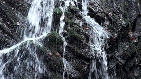 Klein watervalhoogtepunt van water na regen Bezinningen over natte basaltkeien, melkachtig waterhoogtepunt van stromen en bellen stock footage