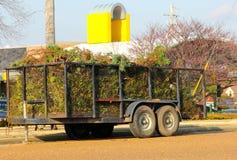 Kleinanhänger gefüllt mit Gebüsche lizenzfreie stockfotos