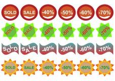 Kleinaufkleber stellte ein: Verkauf und Rabatt Stockbilder