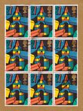 Kleinbogen von den Briefmarken Briten Royal Mail, die hölzerne Spielblöcke der Kinder darstellen stockfotografie