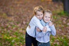 Kleine aanbiddelijke zusters bij warme zonnige de herfstdag Stock Foto's