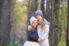 Kleine aanbiddelijke zusters bij warme zonnige de herfstdag Royalty-vrije Stock Afbeeldingen