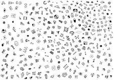 Kleine abstrakte Symbole gezeichnet mit einem Stift Weißer Hintergrund stockfotografie