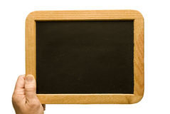 Kleine alte leere Tafel eigenhändig gehalten Lizenzfreies Stockfoto