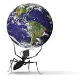Kleine Ameise, die schwere blaue Erde anhebt Lizenzfreie Stockbilder