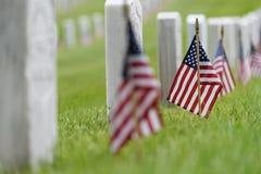 Kleine Amerikaanse vlag bij Nationale begraafplaats - Memorial Day -vertoning royalty-vrije stock foto