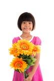 Kleine asiatische Mädchen Blume Stockfotografie