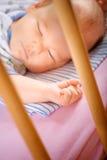 Kleine baby in een wieg Stock Afbeeldingen