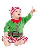 Kleine baby in santakostuum Royalty-vrije Stock Afbeeldingen