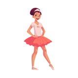 Kleine Ballerina im rosa Ballettröckchen, Hände auf Taille, spitze Zehe Lizenzfreie Stockfotografie