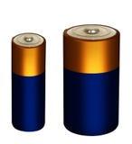 Kleine Batterien des Haushalts, Blockbaugruppen lokalisiert über Weiß Lizenzfreie Stockbilder