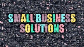 Kleine Bedrijfsoplossingenconcept met de Pictogrammen van het Krabbelontwerp vector illustratie