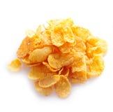 Kleine bemonstering van cornflakes in een stapel Stock Foto