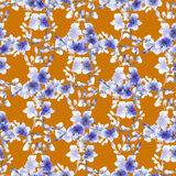 Kleine blaue Blumen und Niederlassungen des nahtlosen Musters auf einem orange Hintergrund Ausführliche vektorzeichnung watercolo Lizenzfreie Stockfotos