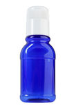 Kleine blaue transparente Flasche lizenzfreie stockfotos