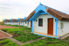 Kleine blauwe traditionele huizen Stock Foto