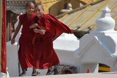 Kleine Boeddhistische monniken Stock Afbeeldingen