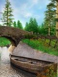 Kleine boot op een rivier Stock Foto