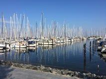 Kleine bootmeertrossen in Heiligenhafen, Duitsland Royalty-vrije Stock Afbeeldingen