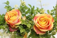 Kleine bos met twee oranje rozen en fijne leaved bosbessenzemelen royalty-vrije stock afbeelding