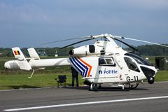 Belgium police MD900 Explorer helicopter. KLEINE BROGEL, BELGIUM - SEP 13, 2014: Belgian Police McDonnell-Douglas MD900 Explorer helicopter on the tarmac of Stock Photography