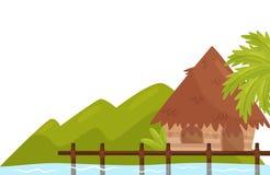Kleine bungalow op kust van oceaan Tropisch eiland met palm en wilde installaties Natuurlijk Landschap Vlak vectorontwerp stock illustratie